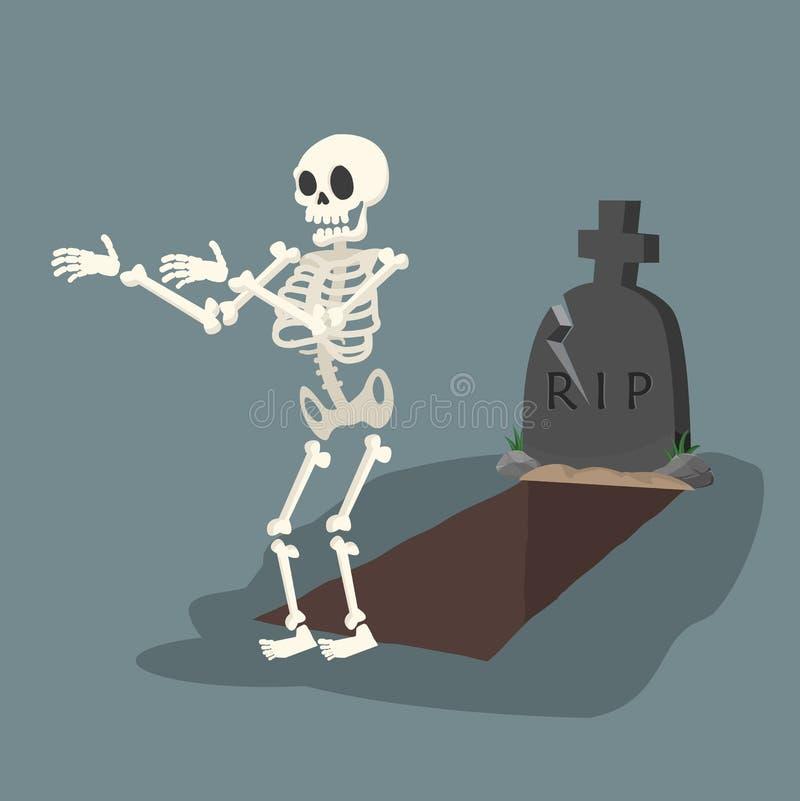 Tomba e lapide aperte con lo scheletro illustrazione di stock