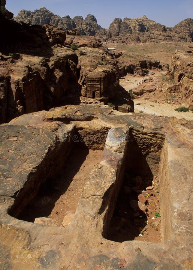 Tombe antiche di PETRA immagine stock libera da diritti