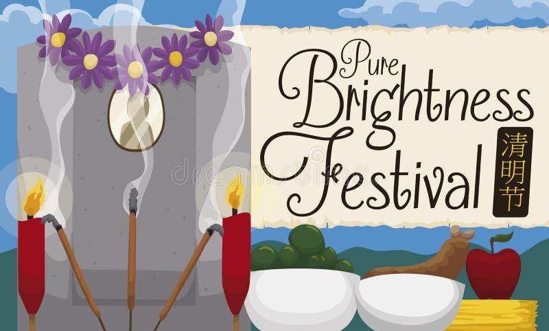 Tombe avec des offres traditionnelles pour célébrer le festival pur chinois d'éclat, illustration de vecteur illustration de vecteur