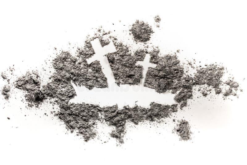 Tombe avec la croix dans le dessin de silhouette de sol photographie stock libre de droits
