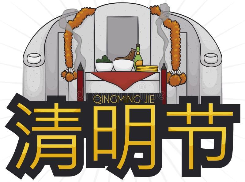 Tombe commémorative consacrée aux ancêtres avec des offres pendant le festival de Qingming, illustration de vecteur illustration stock