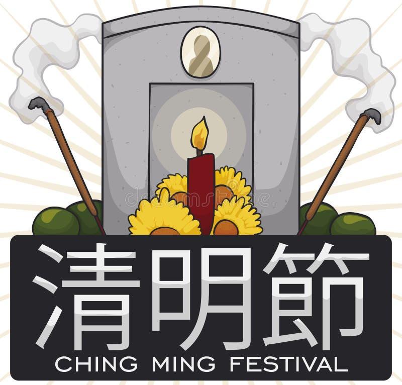 Tombe décorée avec les offres et la nourriture pour Ching Ming Festival, illustration de vecteur illustration libre de droits