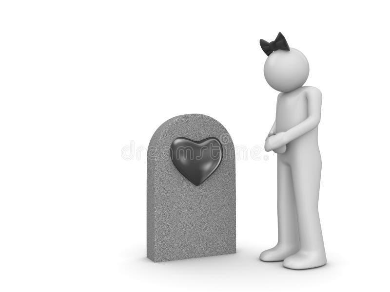 Tombe d'amour et femme douleureux images stock