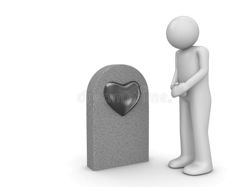 Tombe d'amour et homme douleureux photographie stock
