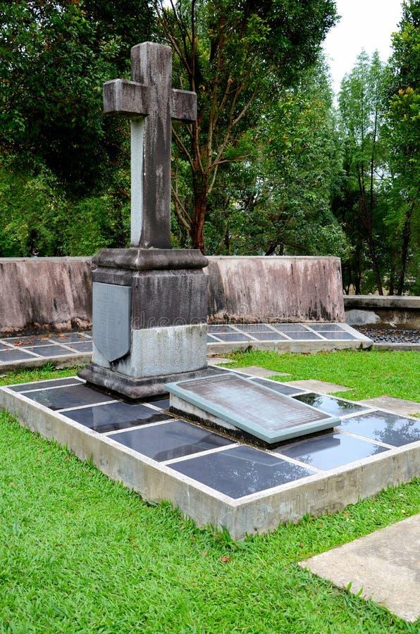 Tombe de membre du raja blanc de famille de Brooke du fort Margherita Kuching Malaysia de Sarawak image stock
