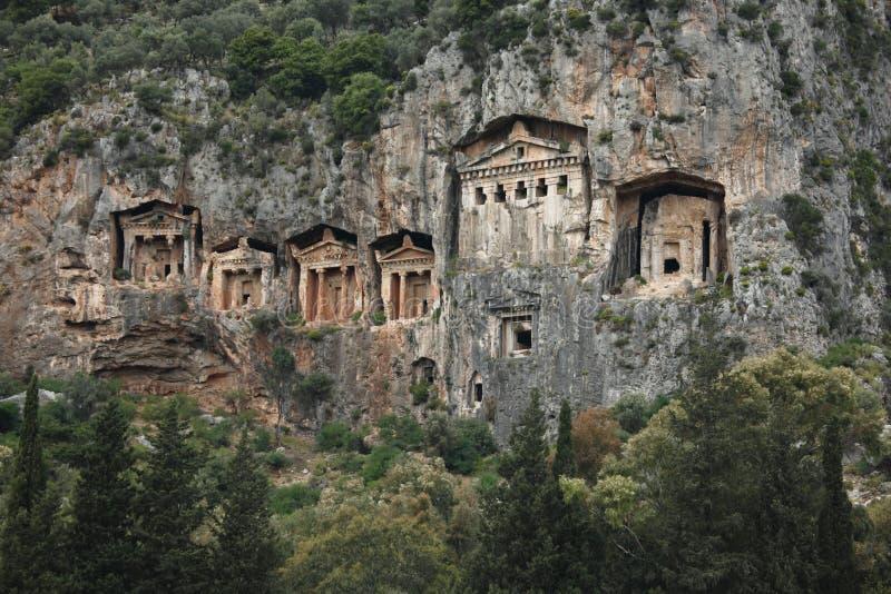 Tombe di Lycian, Kaunos, Turchia immagini stock