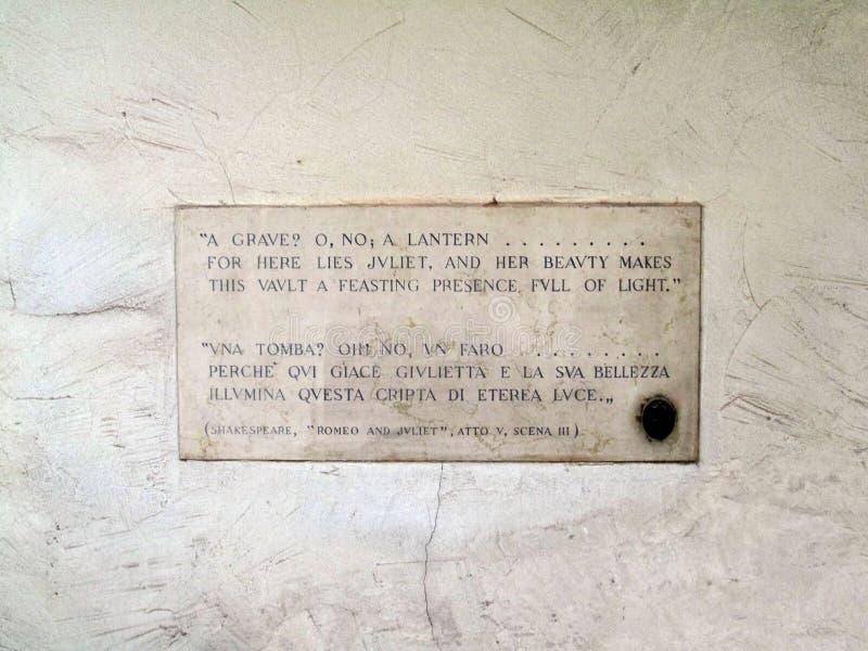Tombe du ` s de Juliet en Verona Italy photographie stock