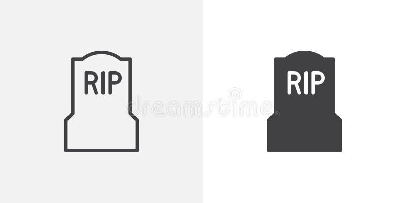 Tombe, icône de pierre tombale illustration libre de droits