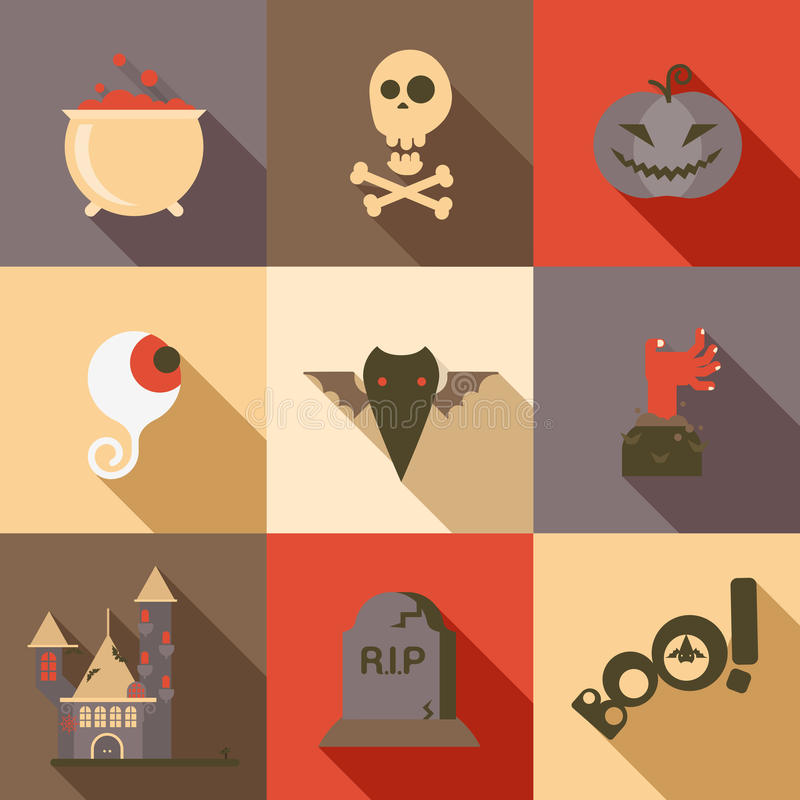 Tombe réglée de main de zombi de batte d'oeil de crâne de poison d'icône plate de Halloween illustration stock