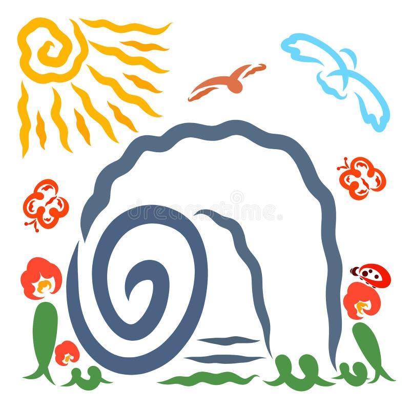 Tombe vide, la résurrection de Jésus, oiseaux, fleurs, une coccinelle, papillons et le soleil illustration stock
