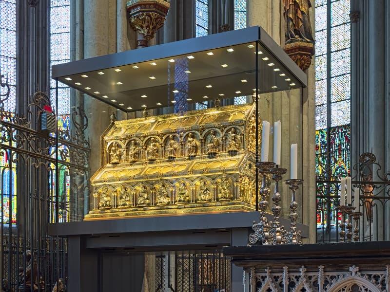 Tombeau des trois rois dans la cathédrale de Cologne, Allemagne images libres de droits