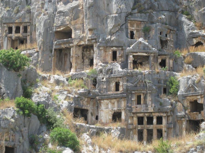 Tombeaux de Lycian dans Myra photos stock