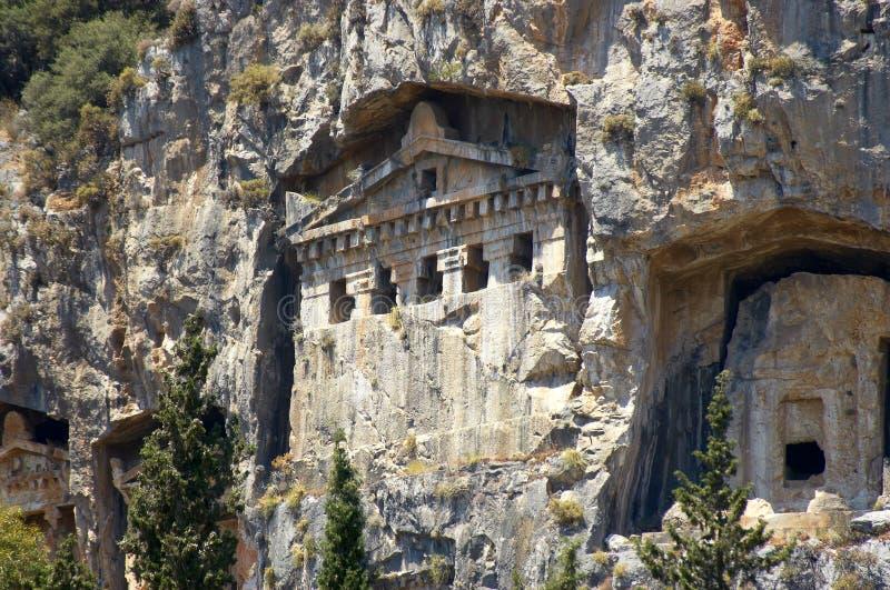 Tombeaux de roche de Lycian photo libre de droits