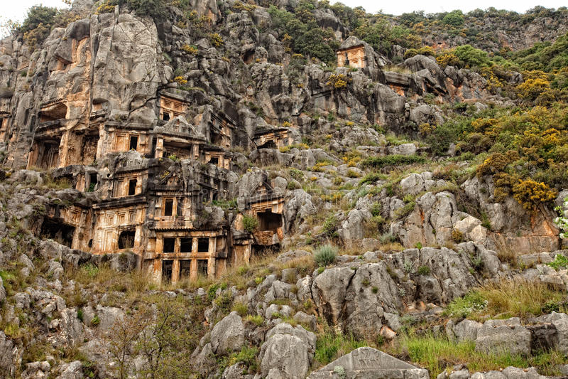 Tombes de coupure de roche de Myra Turquie photographie stock libre de droits