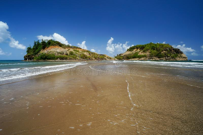 Tombolo to Sainte-Marie Islet, Martinique stock photography