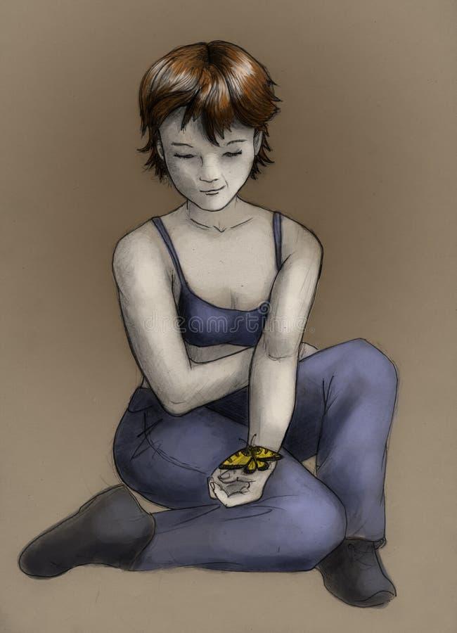 Tomboy девушки цвета бабочки Стоковые Изображения