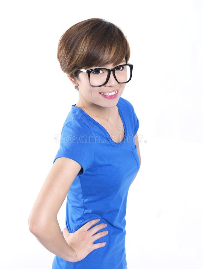Tomboy смотря азиатскую китайскую девушку в сини стоковое изображение