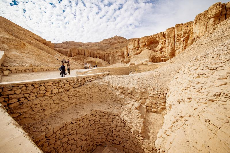 The tombs excavations in the Valley of the Kings in Luxor Egypt. Luxor is one of Egypt best destinations for tourists and is situated on the Nile between Cairo stock photography
