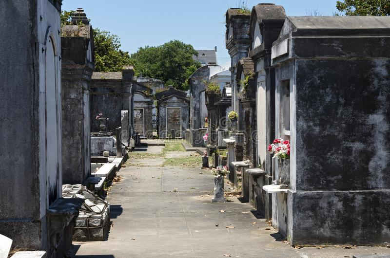 Tombs of Historic Cemetery in New Orleans. Above ground tombs in historic cemetery of new orleans louisiana stock photography
