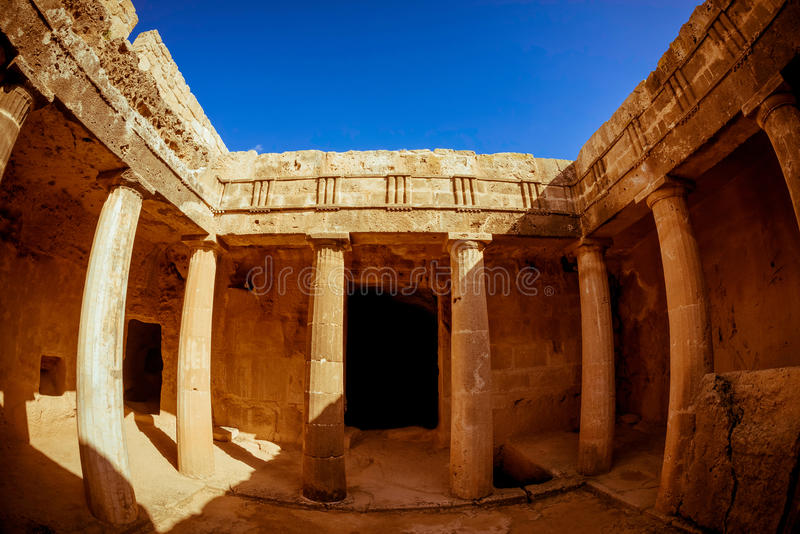 Tombs of the Kings - impressive ancient necropolis. Paphos District, Cyprus.  stock photo