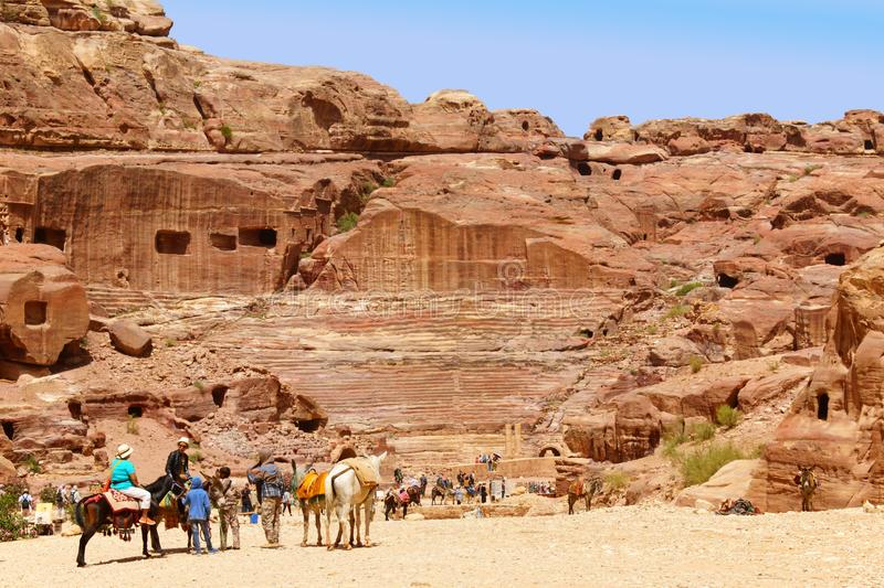 Tombs and theater carved in the rock at Petra, Jordan stock photo