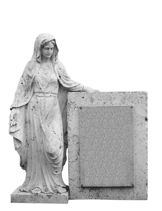 Tombstone. Female statue as tombstone. Isolated on the white background royalty free stock images