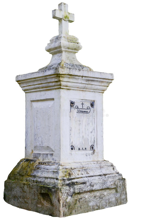 Tombstone. A tombstone in a church cemetery - isolated on white stock photos