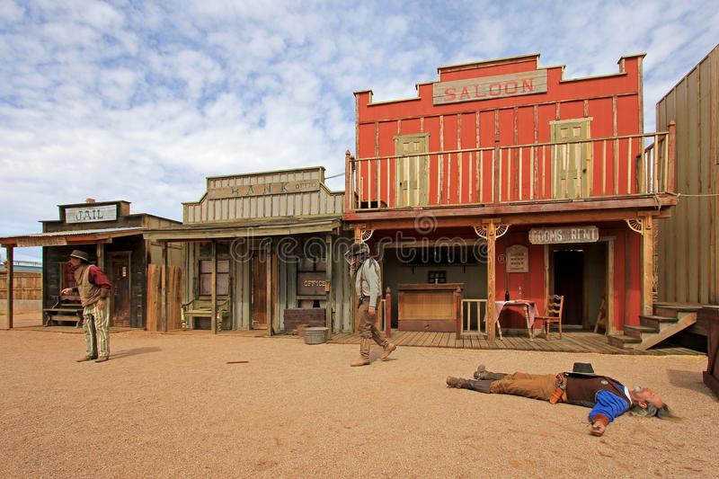TOMBSTONE, ARIZONA, USA, MARCH 4, 2014: Actors playing the O.K. Corral gunfight shootout in Tombstone, Arizona, USA on. TOMBSTONE, ARIZONA, USA, MARCH 4, 2014 stock image
