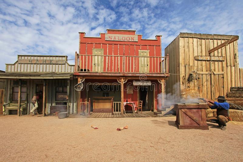 TOMBSTONE, ARIZONA, USA, MARCH 4, 2014: Actors playing the O.K. Corral gunfight shootout in Tombstone, Arizona, USA on. TOMBSTONE, ARIZONA, USA, MARCH 4, 2014 royalty free stock photos