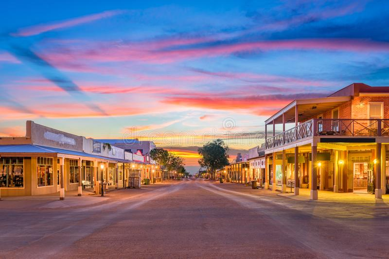 Tombstone Arizona USA. Tombstone, Arizona, USA old western town at sunset stock images