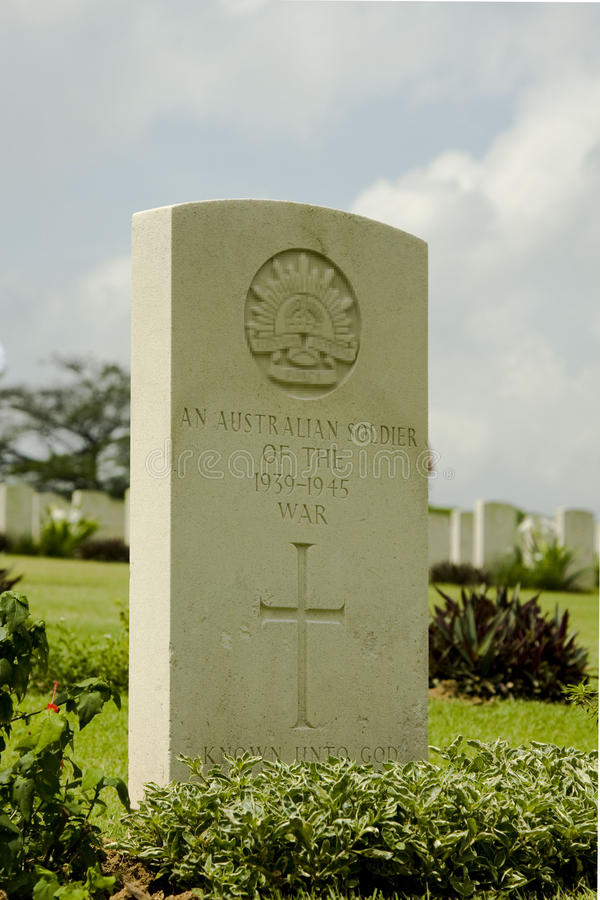 Tombstone of an Australian soldier royalty free stock photography
