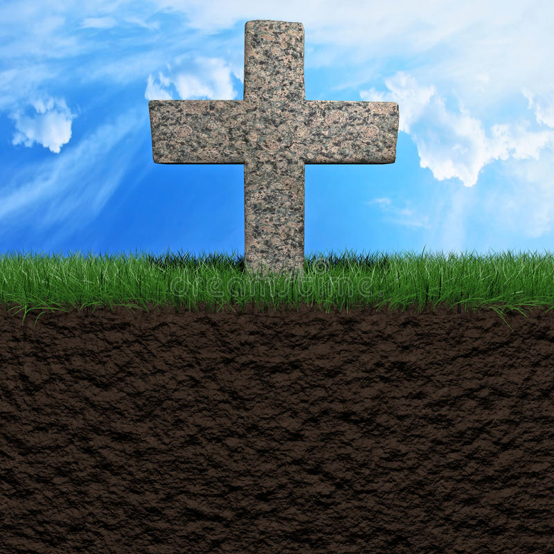 Tombstone background. Tombstone on a grass field background 3d illustration vector illustration