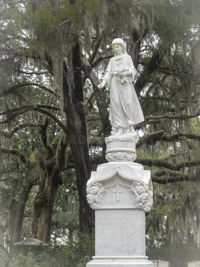 Tombstone in the Bonaventure Cemetery royalty free stock image