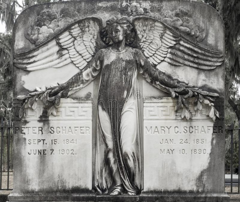Tombstone in the Bonaventure Cemetery stock image