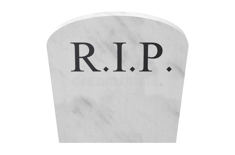 Tombstone closeup RIP. Tombstone closeup isolated on white background stock image