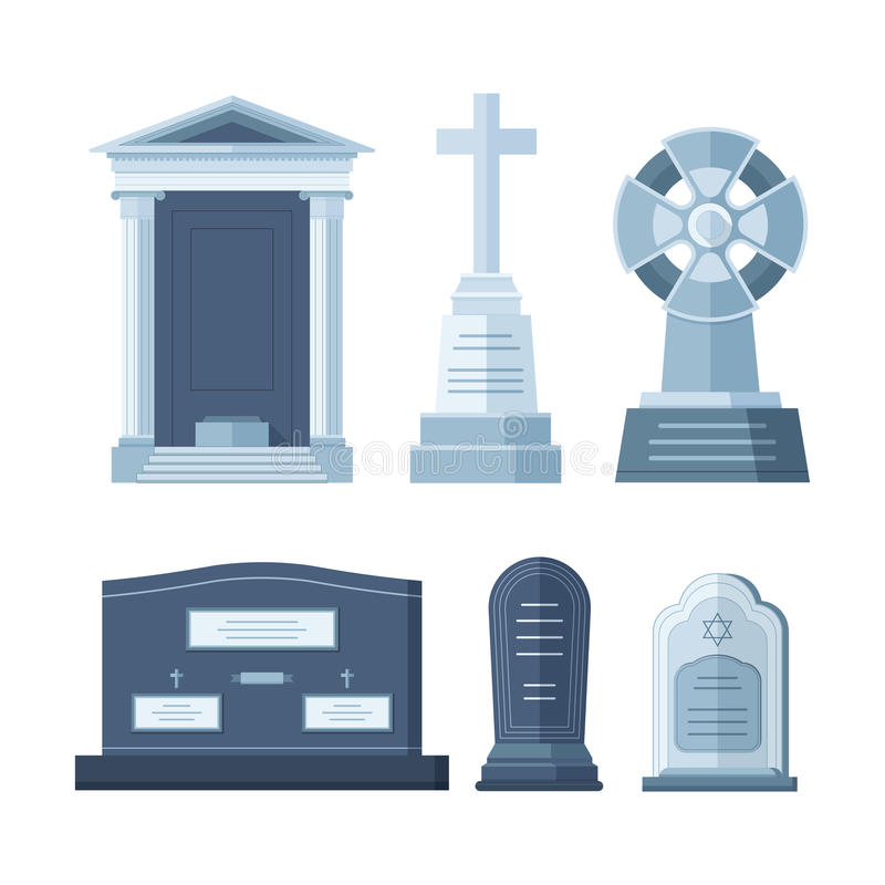 Tombstone crypt vector construction for dead people. Tombstone crypt vector construction isolated. Traditional stone cemetery religion grave for dead people royalty free illustration