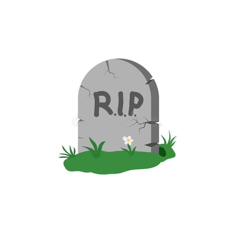 Tombstone with grass and flower with the inscription RIP. Design element isolated on light background. Eps royalty free illustration