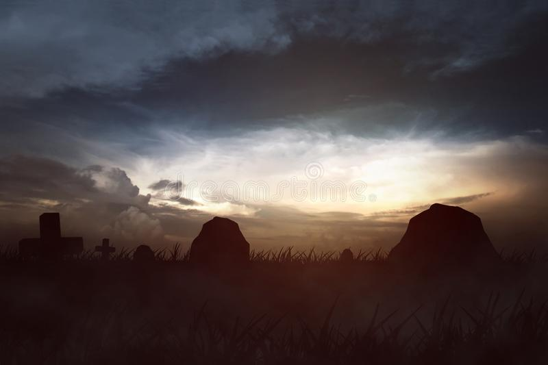 Tombstone and graves. With the sky is creepy stock image