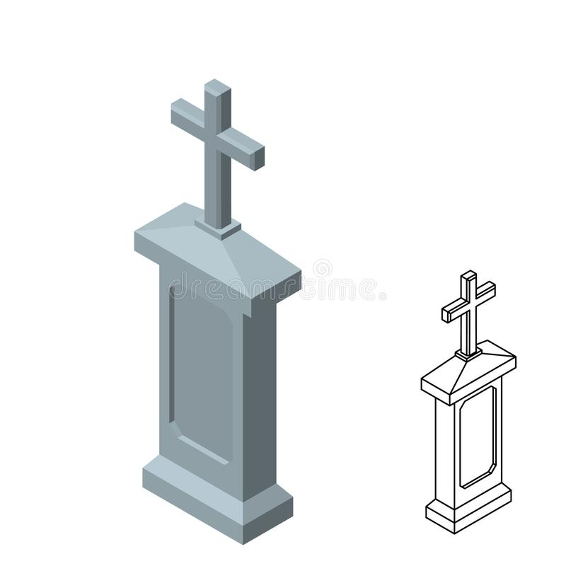 tombstone Isolado no fundo branco ilustração do vetor 3d ilustração royalty free