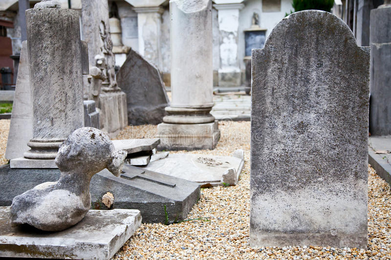 Tombstone. In Italian cemetery with copy space stock image