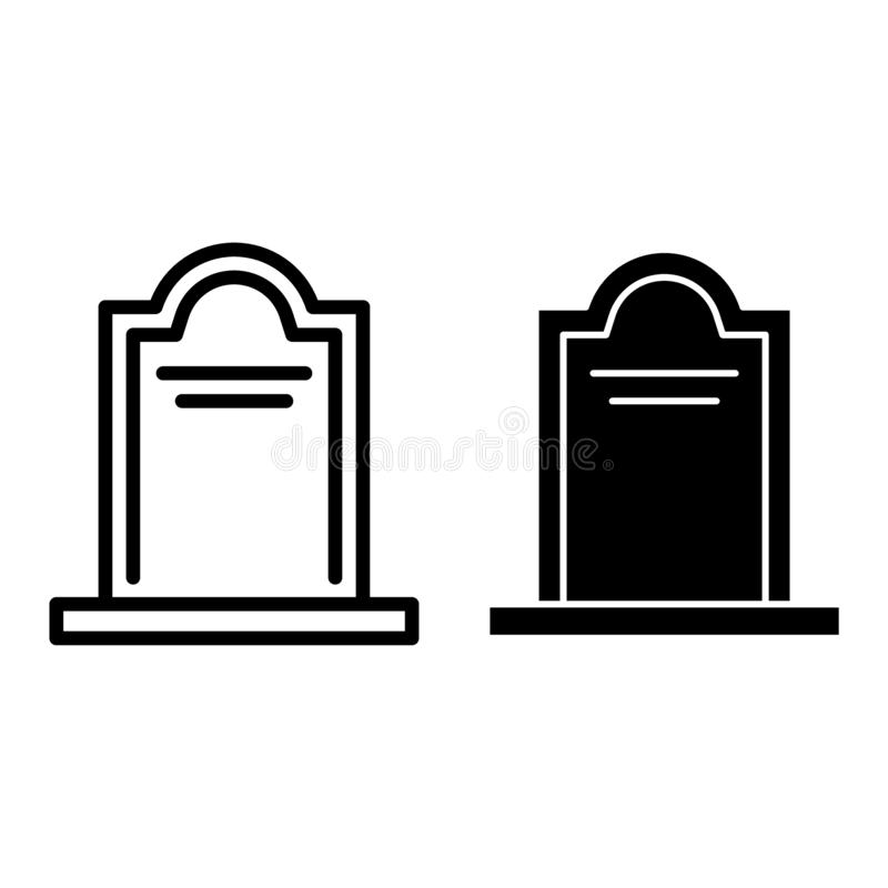 Tombstone line and glyph icon. Coffin vector illustration isolated on white. Cemetery outline style design, designed for. Web and app. Eps 10 vector illustration
