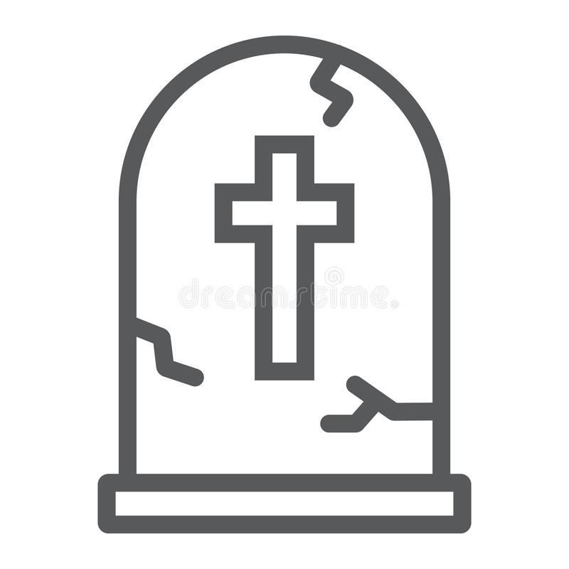 Tombstone line icon, halloween and death, grave sign, vector graphics, a linear pattern on a white background. Eps 10 royalty free illustration