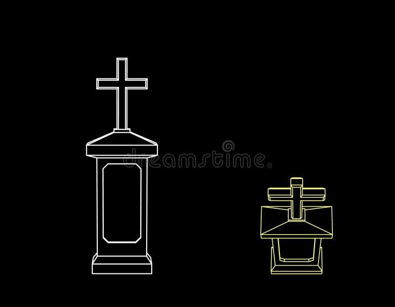 tombstone No fundo preto Illustra do esboço do vetor ilustração stock