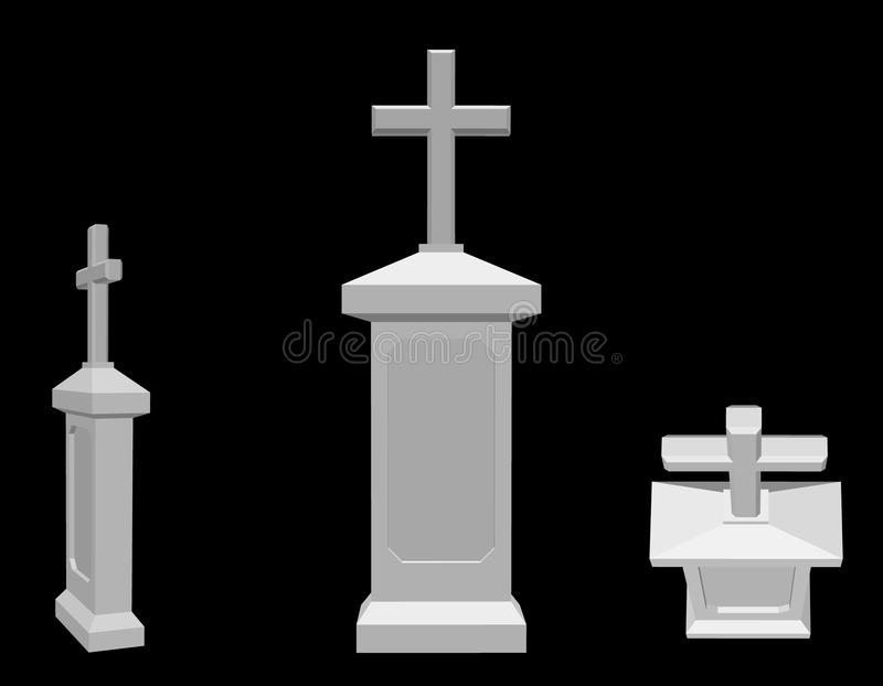 tombstone No fundo preto ilustração do vetor 3d ilustração do vetor