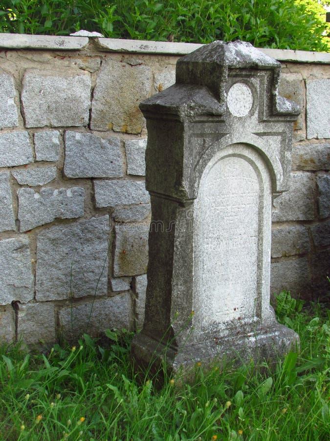 Tombstone in an old abandoned Jewish cemetery, Svetla nad Sazavou, Czech republic stock photo