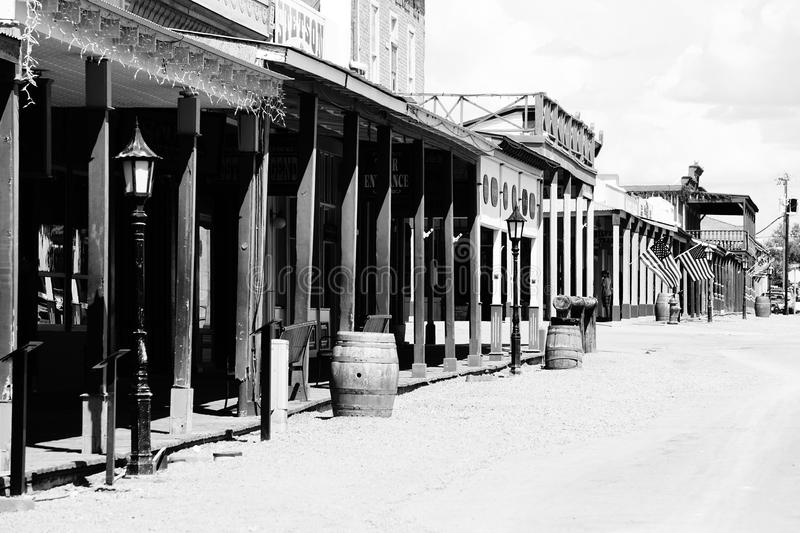 Tombstone. A picture of the town of Tombstone Arizona in black and white royalty free stock images