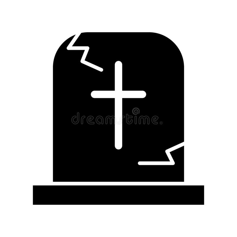 Tombstone solid icon. Grave web vector illustration isolated on white. Gravestone with the cross glyph style design. Designed for web and app. Eps 10 vector illustration