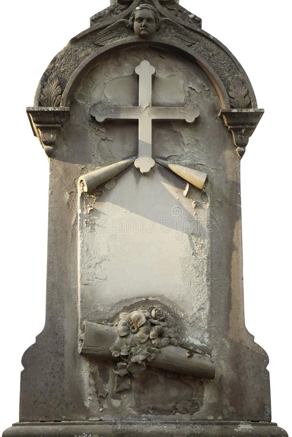 Tombstone with space for text. (white isolated royalty free stock images