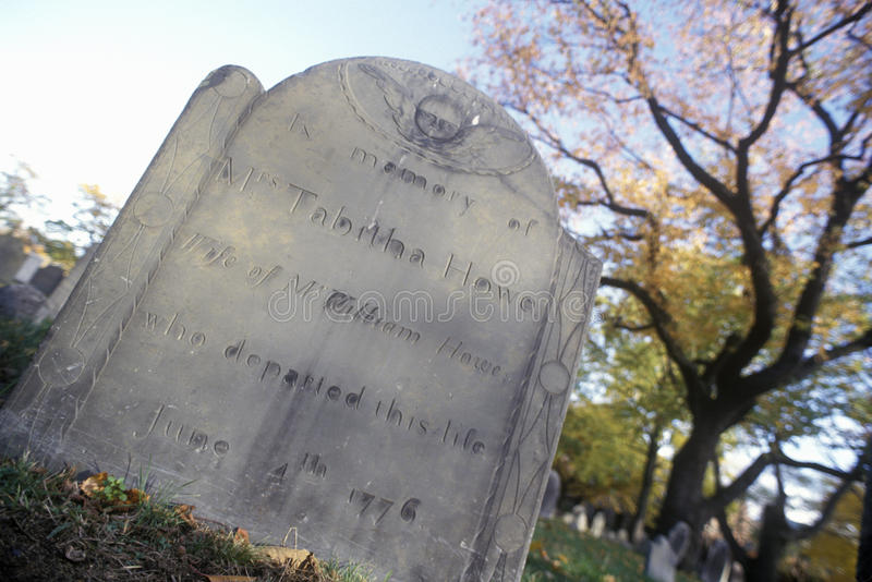 Tombstone of Tabitha Howe, Cambridge, Massachusetts royalty free stock photo