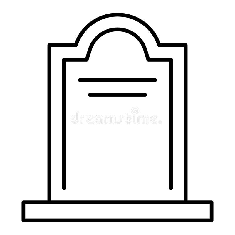 Tombstone thin line icon. Coffin vector illustration isolated on white. Cemetery outline style design, designed for web. And app. Eps 10 royalty free illustration